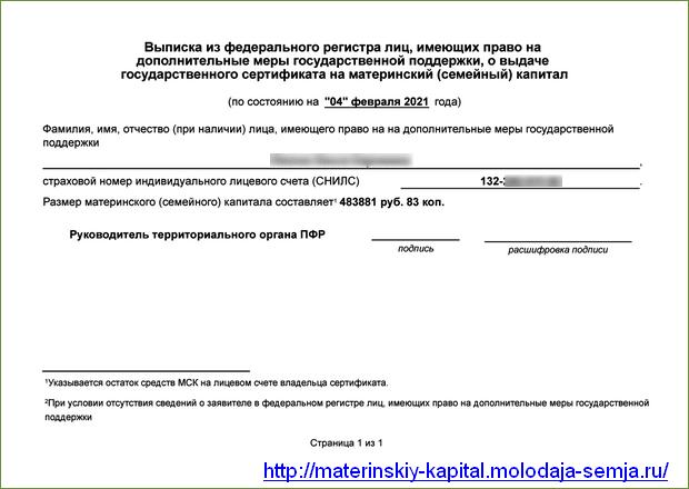 Электронный сертификат на маткапитал